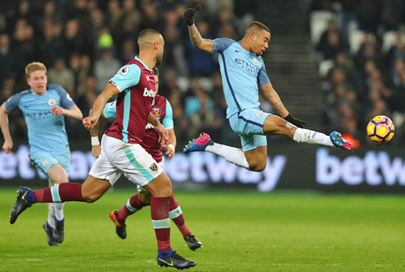 Gabriel Jesus scored Man City's third goal against West Ham