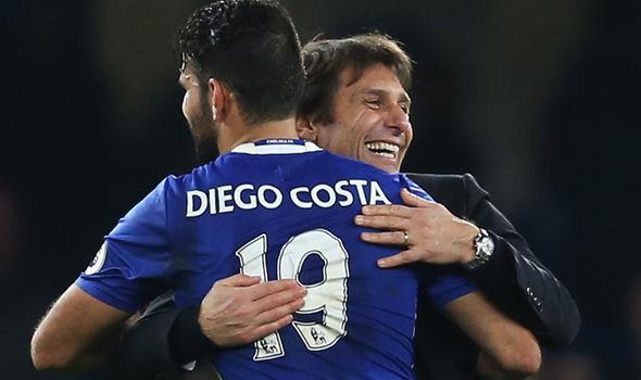 Diego Costa and Antonio Conte
