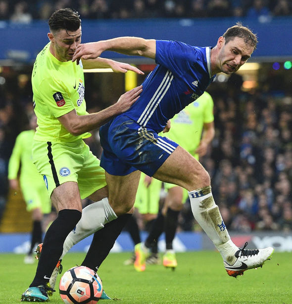Branislav Ivanovic in FA Cup action for Chelsea against Peterborough
