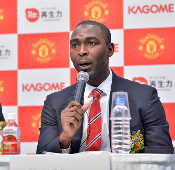 Andy Cole working for Man Utd