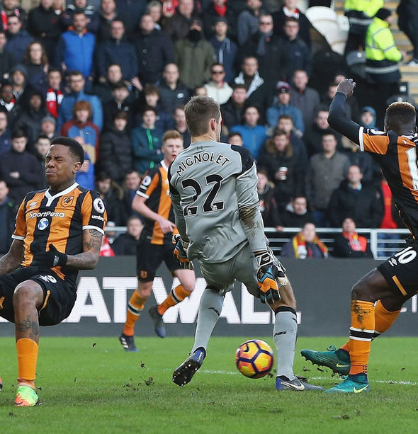 Liverpool goalkeeper Simon Mignolet making a clanger against Hull