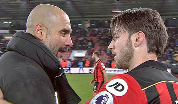 Pep Guardiola spoke at length with Harry Arter after the game
