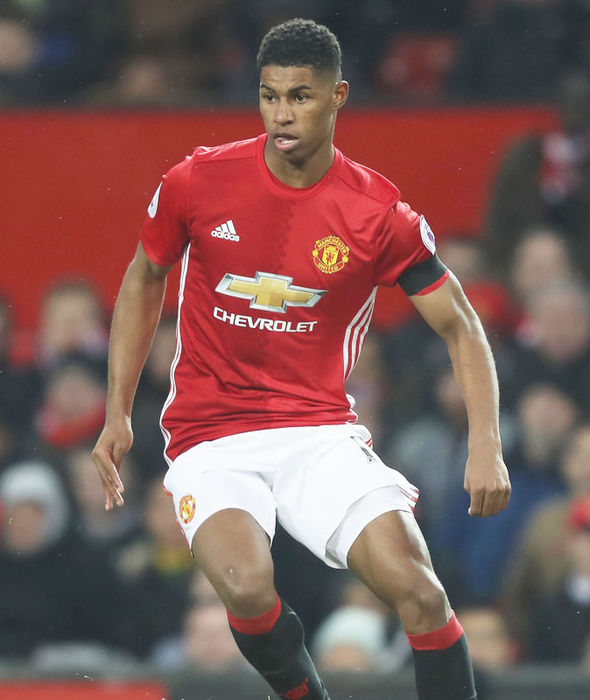 Marcus Rashford in action for Manchester United against Watford