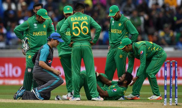 Wahab Riaz gets treatment on his injury