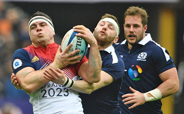 Scotland battle France for the ball Six Nations action