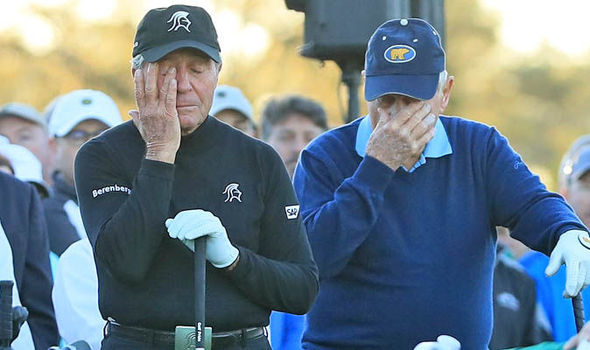 Jack Nicklaus (R) and Gary Player (L) were in tears while opening the 81st Masters