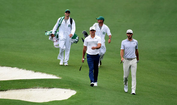 Dustin Johnson practices at the Masters