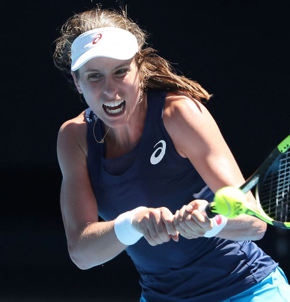 Johanna Konta crunches a backhand against Naomi Osaka