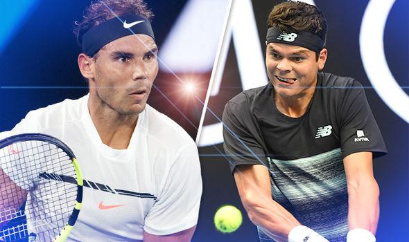Rafael Nadal and Milos Raonic at the Australian Open