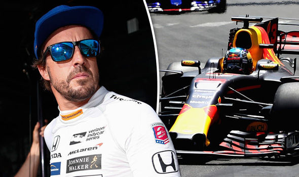 Fernando Alonso and a Red Bull F1 car