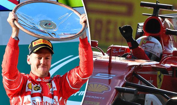 Ferrari driver Sebastian Vettel wins the Australian Grand Prix