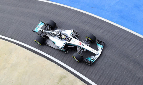 Lewis Hamilton in his Mercedes F1 car