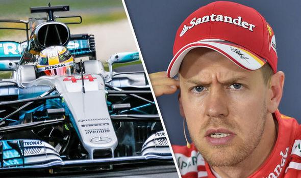Mercedes driver Lewis Hamilton and Ferrari driver Sebastian Vettel