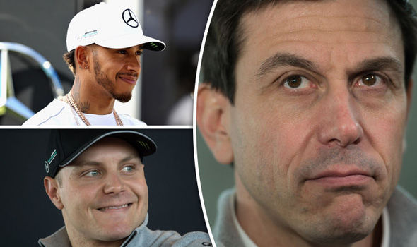 Mercedes boss Toto Wolff and drivers Lewis Hamilton and Valtteri Bottas