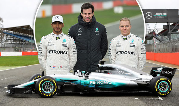 Mercedes team boss Toto Wolff with Lewis Hamilton and Valtteri Bottas