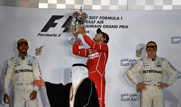 Lewis Hamilton, Sebastian Vettel and Valtteri Bottas