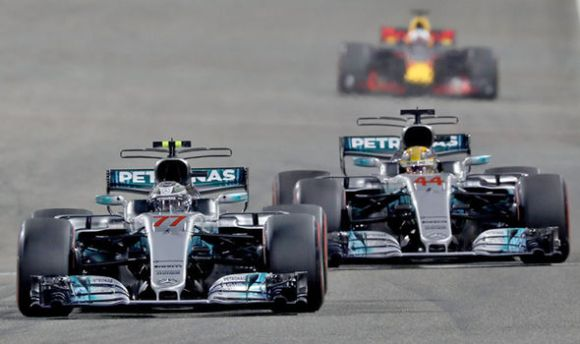 Mercedes F1 drivers Valtteri Bottas and Lewis Hamilton