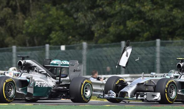 Nico Rosberg and Lewis Hamilton in Mercedes F1 cars