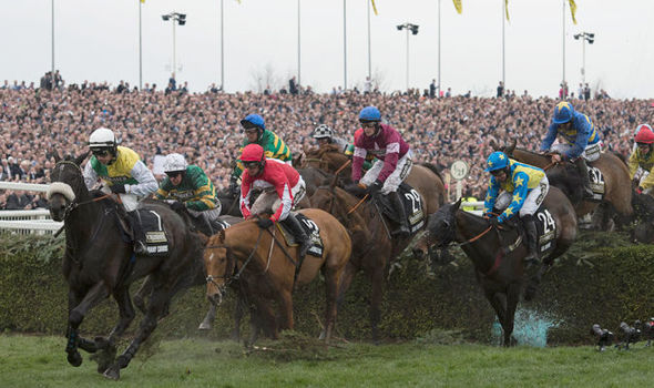 Horses ride at the 2016 Grand National