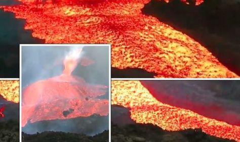 La Palma volcano LIVE: Horror as boiling 1,200C lava 'tsunami' caught in terrifying video