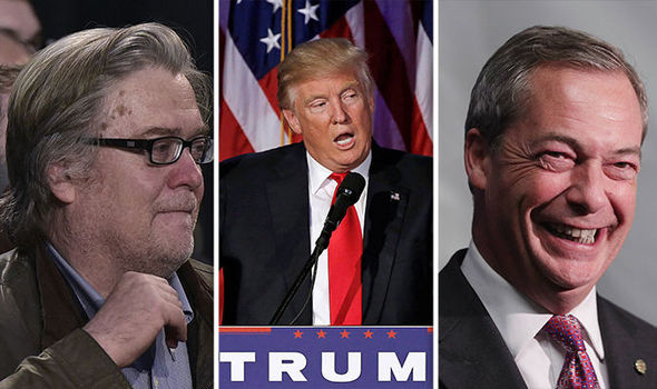Image result for photos of farage and bannon