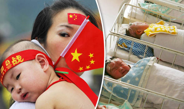 Mother with new baby waving chinese flag