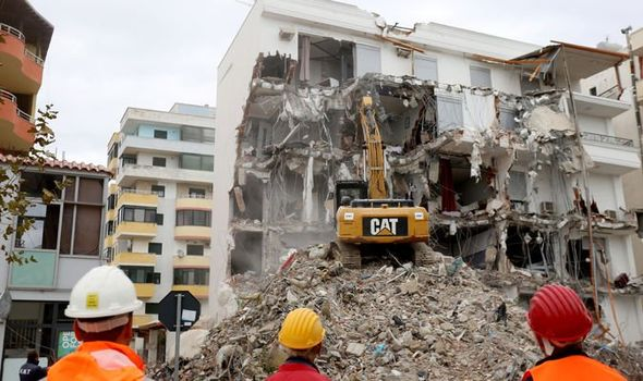 Destruction in Durres, Albania