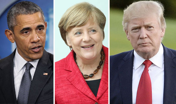 Barack Obama, Angela Merkel and Donald Trump