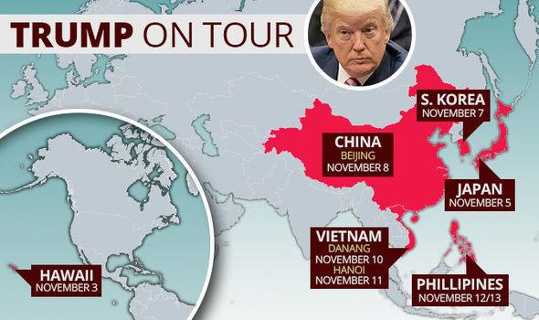 Donald Trump Asia tour map