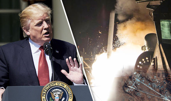 Donald Trump and footage from the Syria airstrike
