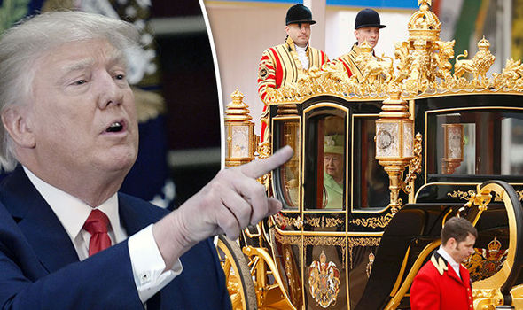 Donald Trump and the Queen's state carriage