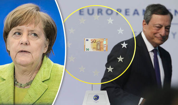 Angela Merkel is not stepping in as Mr Draghi launches new €50 notes