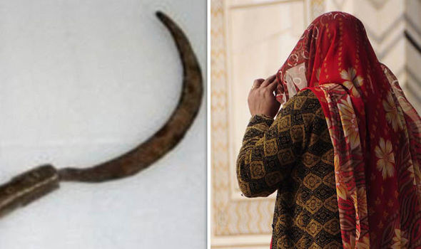 Indian woman and sickle used to attack man