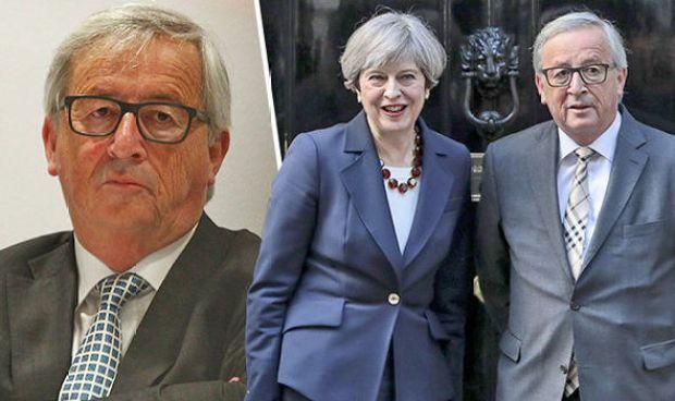 Jean-Claude Juncker and Theresa May meet at No 10