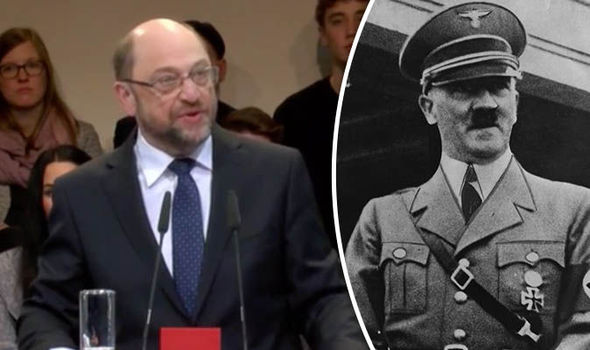 Martin Schulz and Adolf Hitler