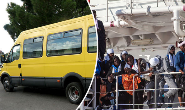 migrants in Italy with school bus