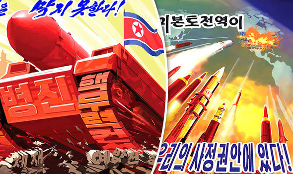 Image result for north korea posters strike range no one can stop us