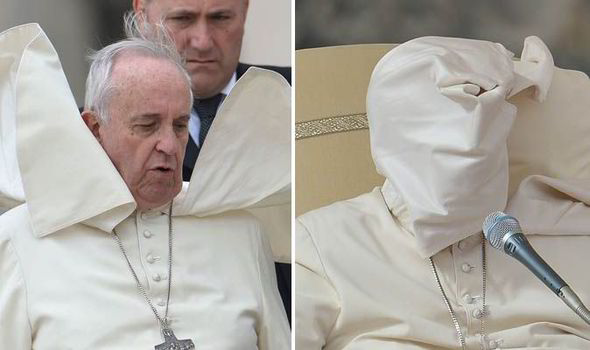 The Pope got caught up in a gust of wind yesterday