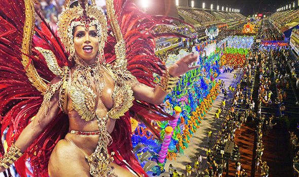 Rio de Janeiro Carnival dancer dressed in gold