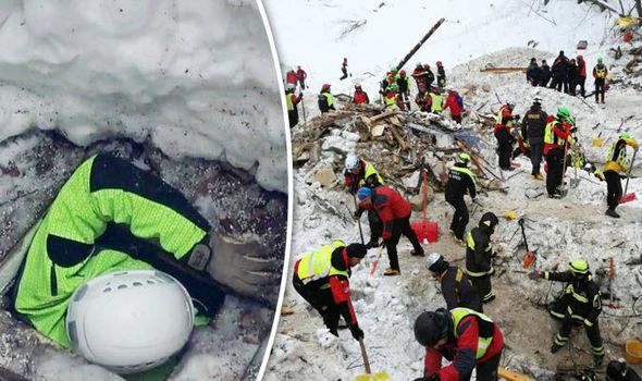 Scene of avalanche at Hotel Rigopiano