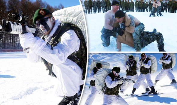 Soldiers on exercises in the snow