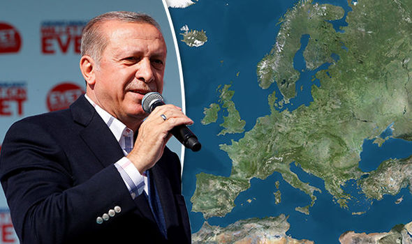 Turkish President Erdogan and a map of Europe