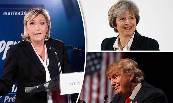 Marine Le Pen talked about Trump and May in a speech today