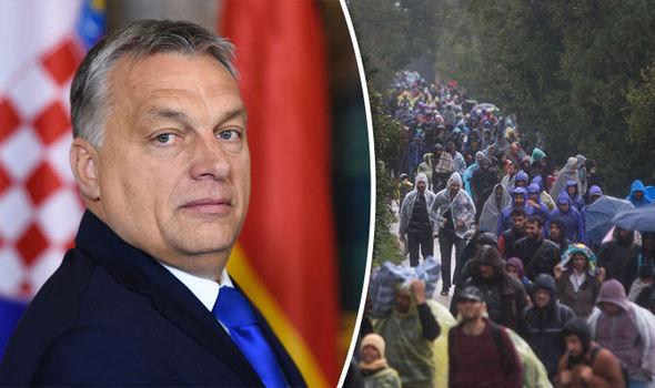 Viktor Orban llegar a la cumbre de Viena