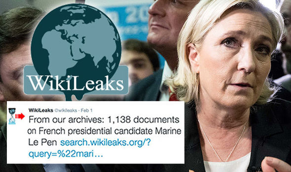 Wikileaks revealed they have documents about Marine Le Pen