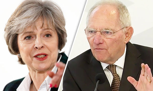 Theresas May and Wolfgang Schaeuble