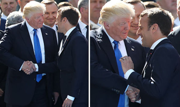 Donald Trump and Emmanuel Macron handshake