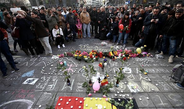 Memorial at Place de la Bourse after the attacks