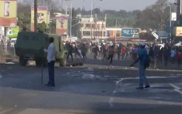 Armoured vehicles have appeared on the streets of Harare
