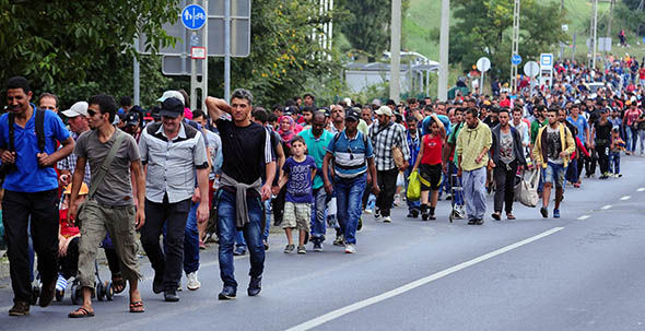 Asylum seekers on the Austria-Hungary border